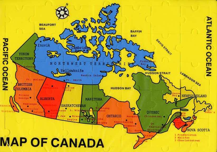 Map Of Canada Davis Strait.Jigsaw Maps Of Canada